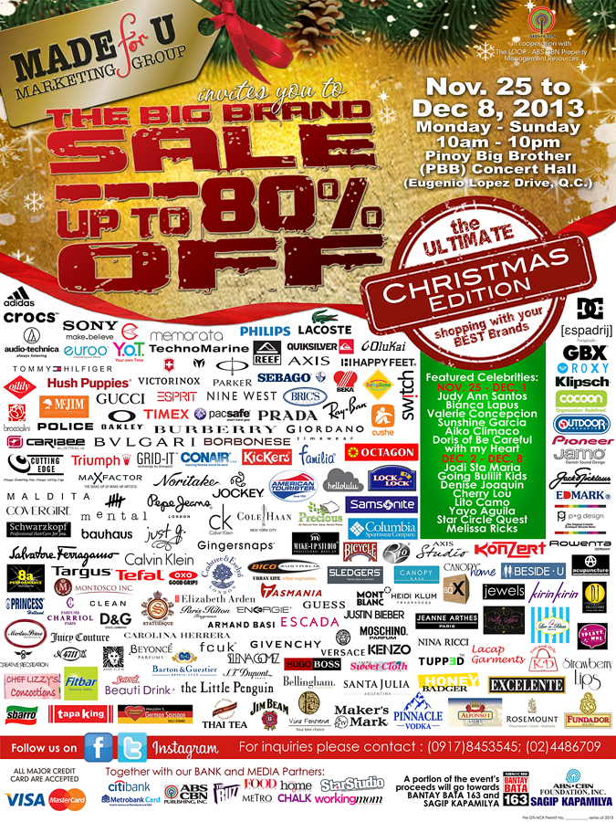 Big Brand Sale Christmas Edition @ Pinoy Big Brother Concert Hall November - December 2013
