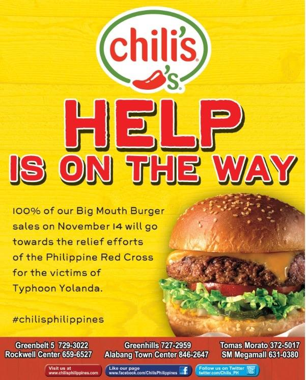 Dine For A Cause: Chili's Help Is On The Way November 2013