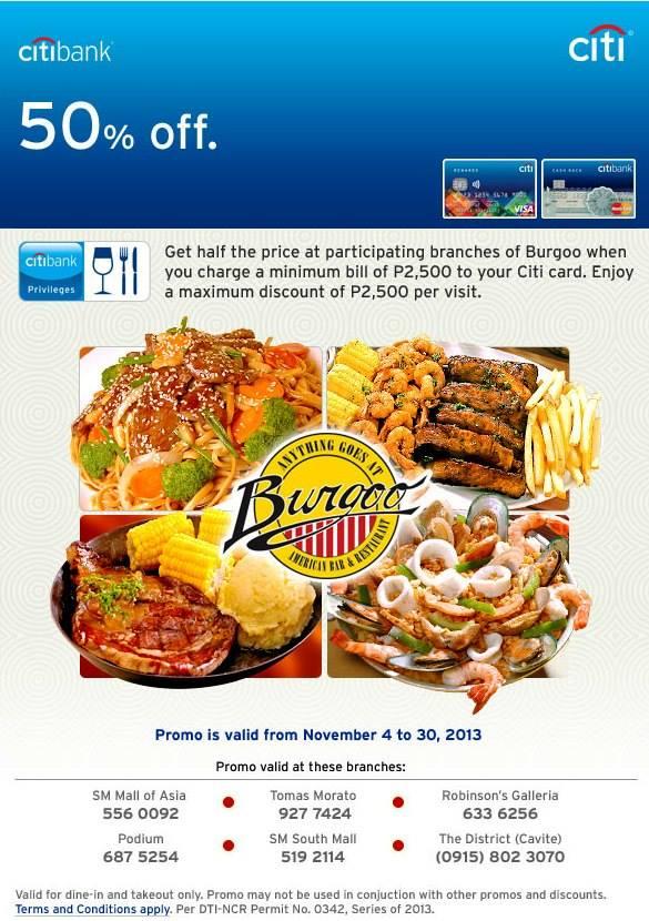 Citibank Promo: 50% off @ Burgoo November 2013