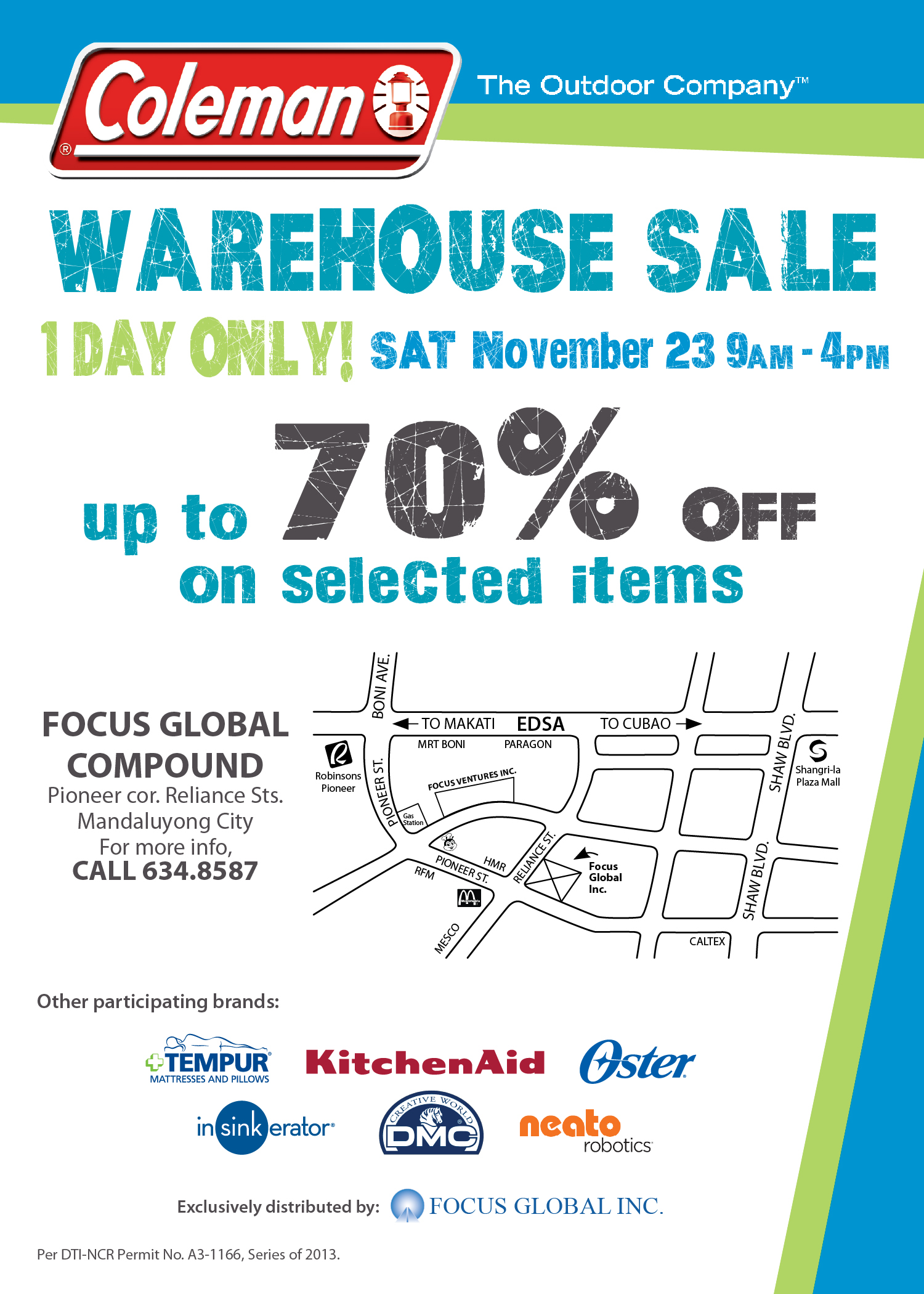 Coleman Warehouse Sale @ Focus Global Compound November 2013