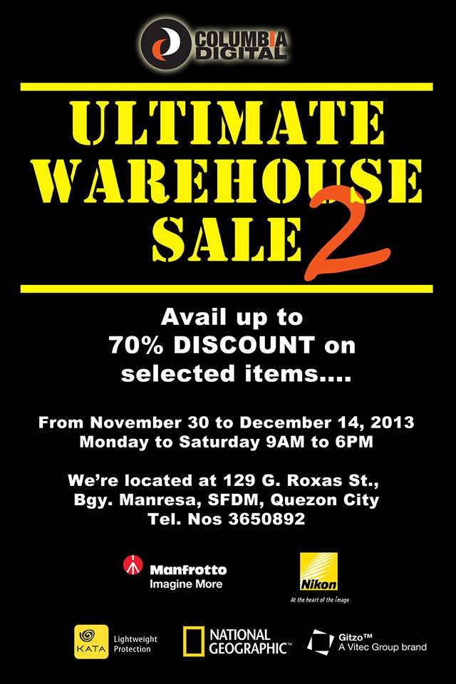 Columbia Digital (Nikon, Manfrotto, Kata, Gitzo, National Geographic) Ultimate Warehouse Sale: November - December 2013