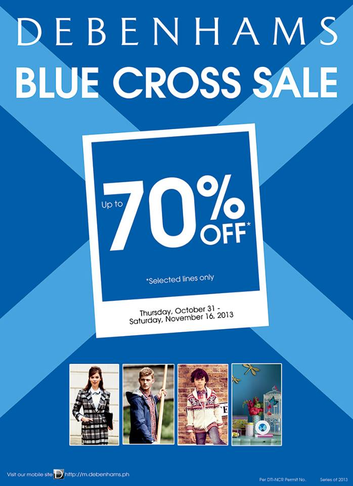 Debenhams Blue Cross Sale October - November 2013
