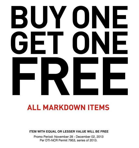 Forever 21 Buy One Get One on Markdown Items November - December 2013