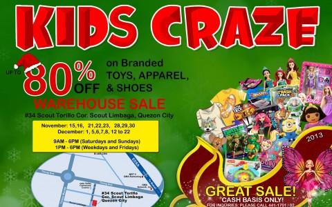 Kids Craze Warehouse Sale November - December 2013