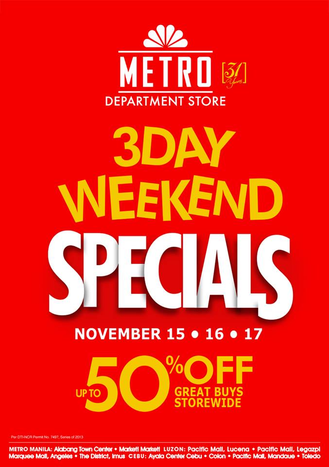 Metro Department Store 3-Day Weekend Specials November 2013