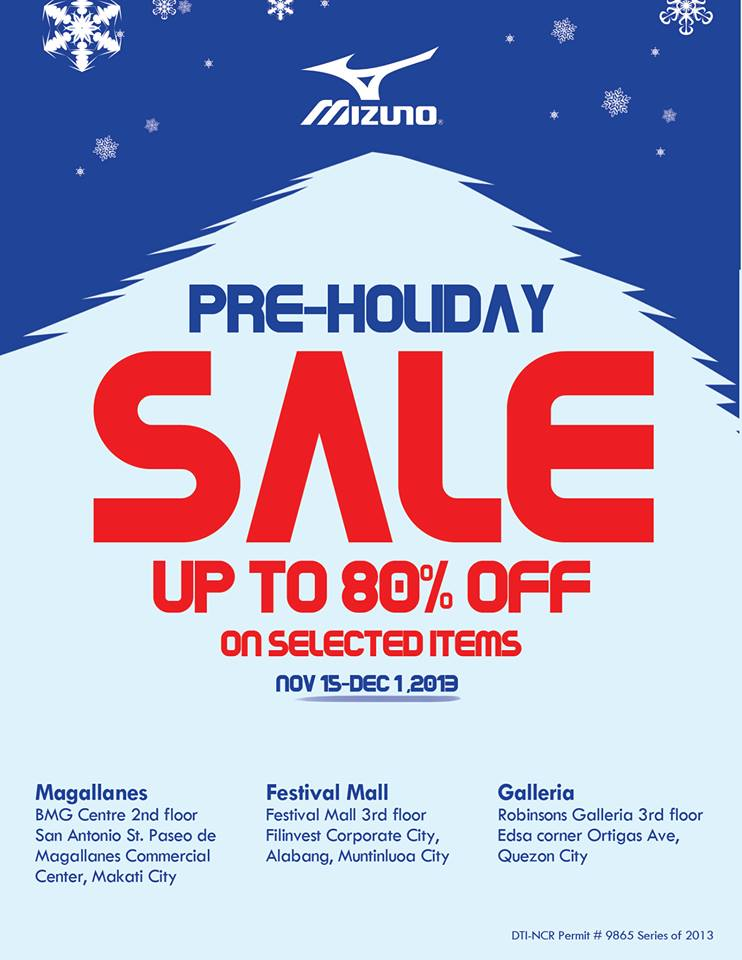 Mizuno Pre-Holiday Sale November - December 2013