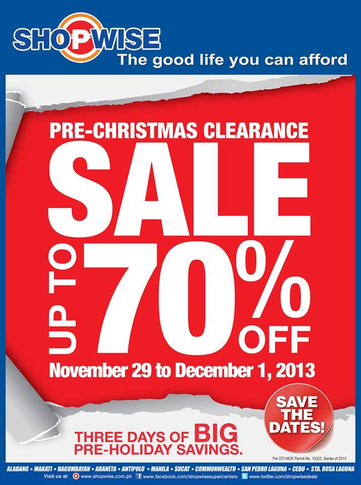 Shopwise Pre-Christmas Clearance Sale November - December 2013