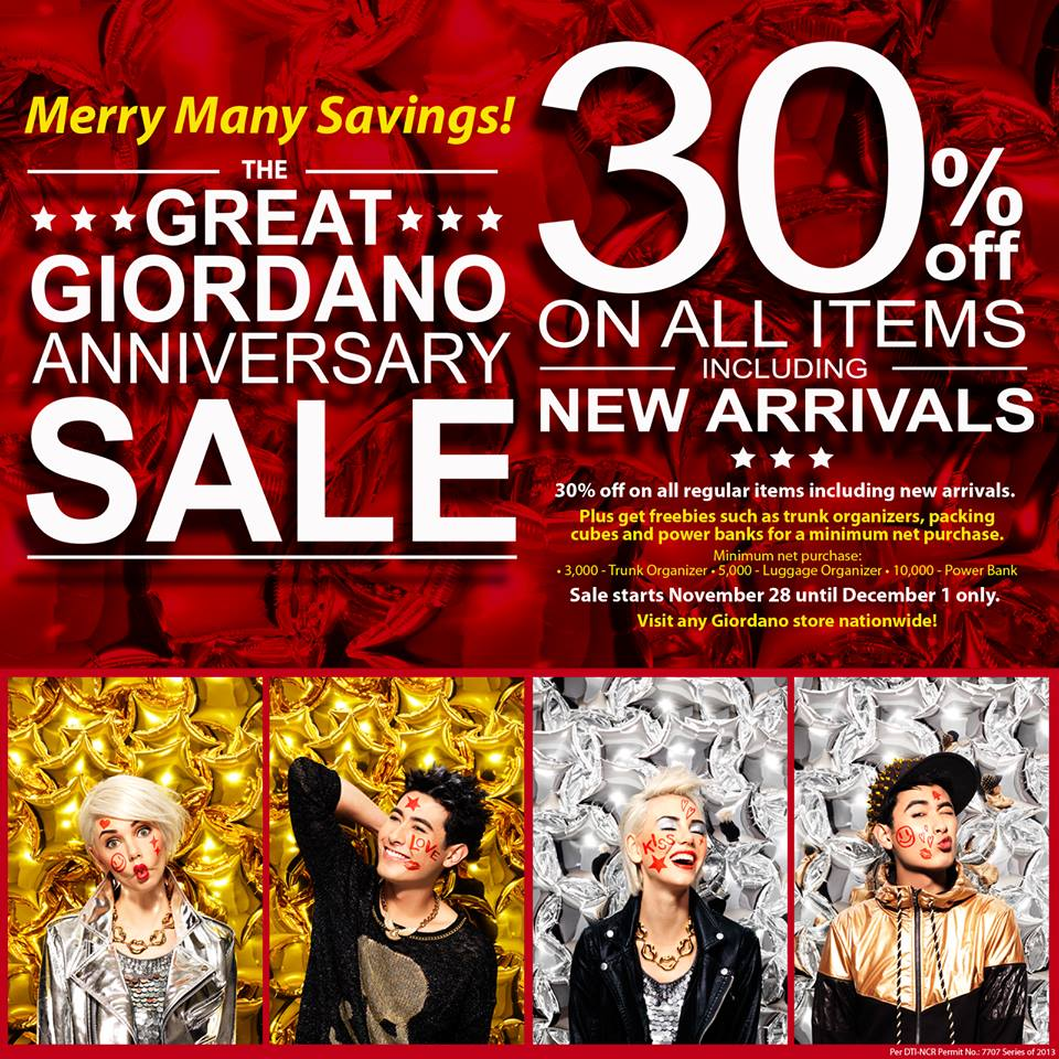 The Great Giordano Anniversary Sale November - December 2013