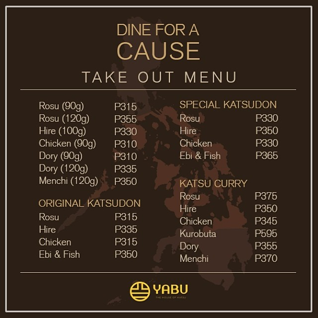 Yabu Dine For A Cause Takeout Menu