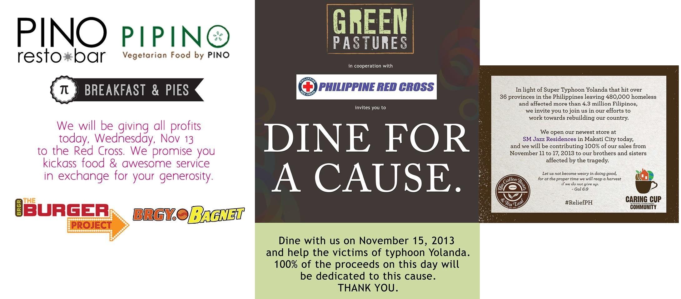 Yolanda Action Weekend - Green Pastures, CBTL, Pino Resto Bar & Pipino Vegetarian November 2013