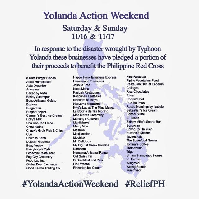 Yolanda Action Weekend Participating Restaurants