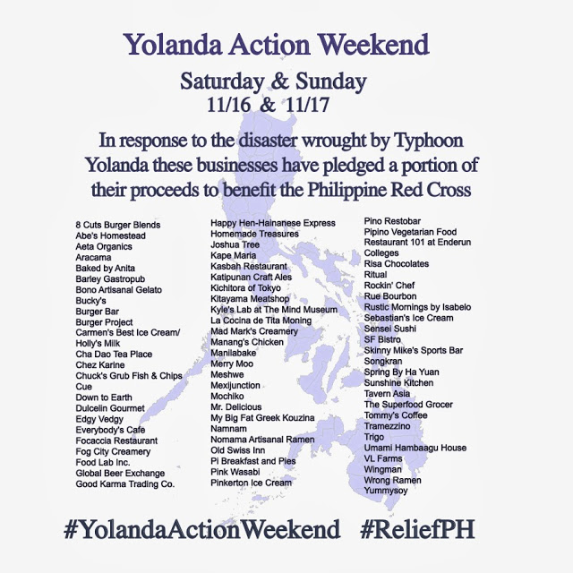 Yolanda Action Weekend: Dine For A Cause November 2013
