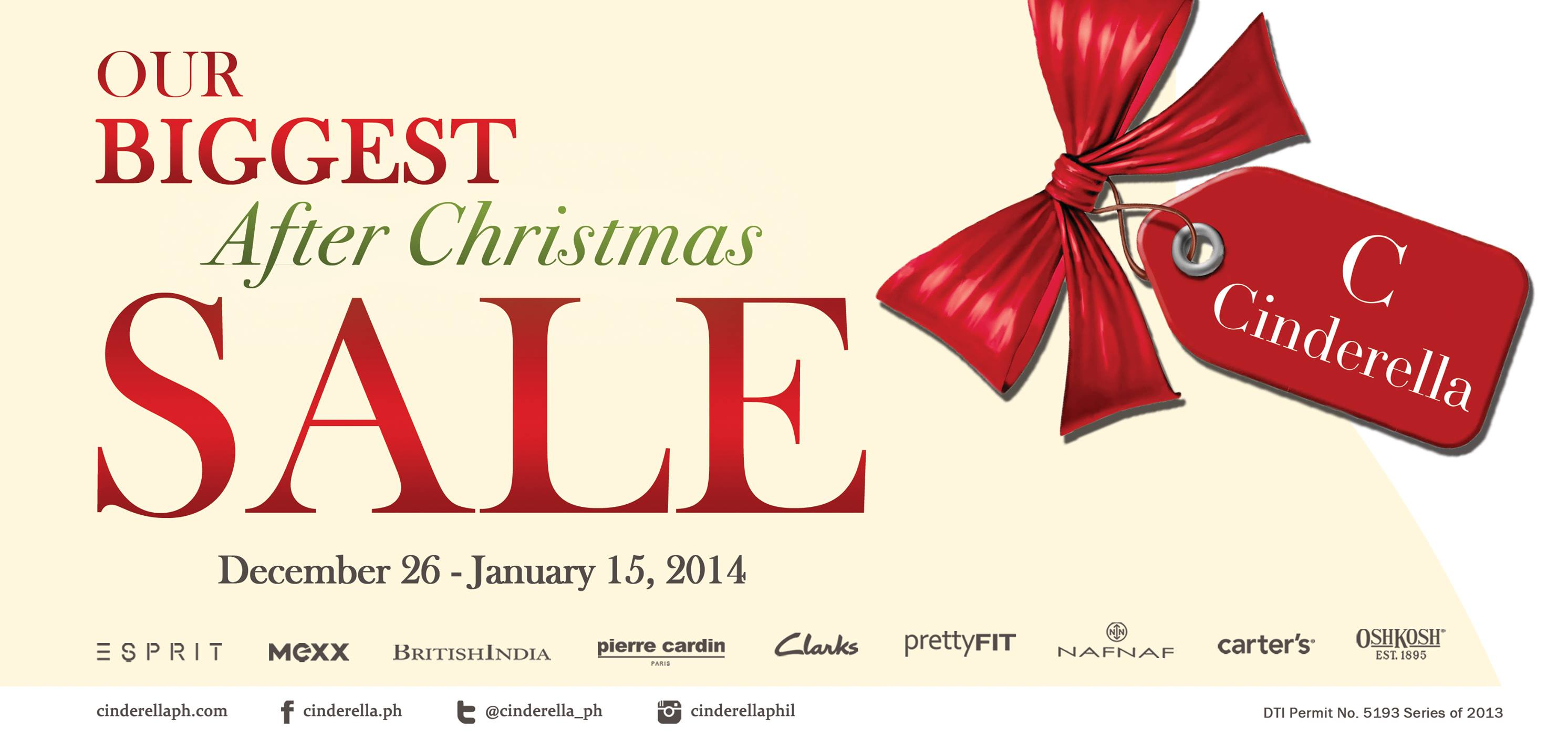 Cinderella After Christmas Sale December 2013 - January 2014