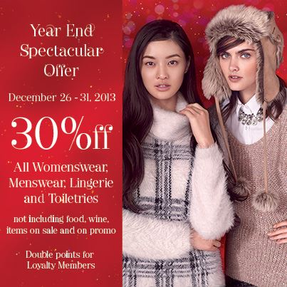 Marks & Spencer Year End Spectacular Sale December 2013