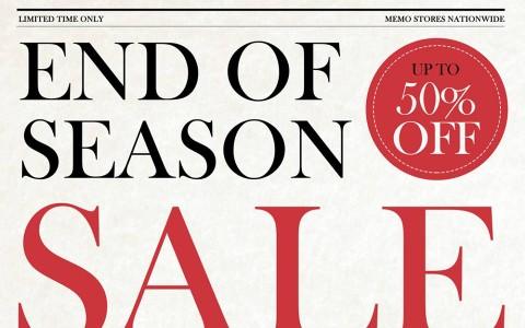 Memo End of Season Sale December 2013 - January 2014