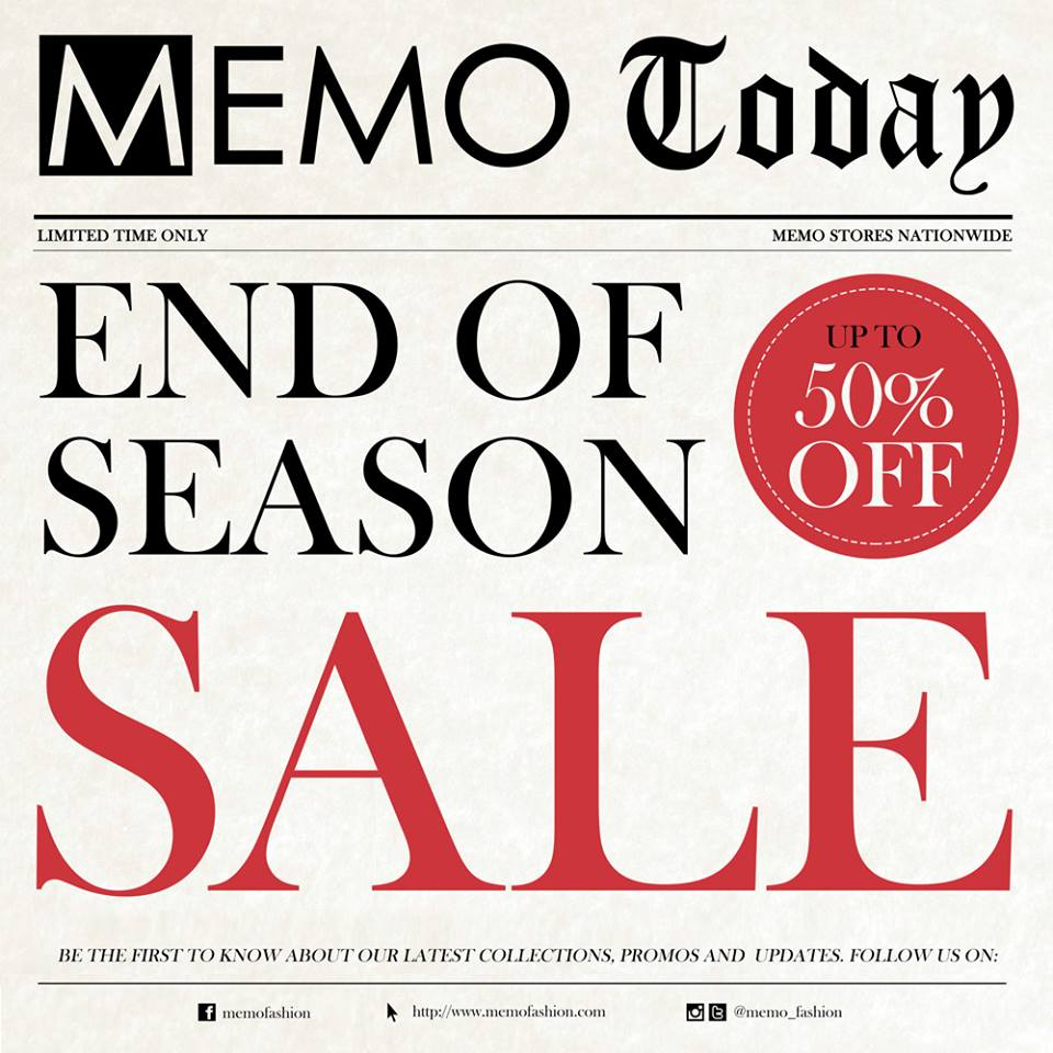Memo End of Season Sale December 2013 - January 2014