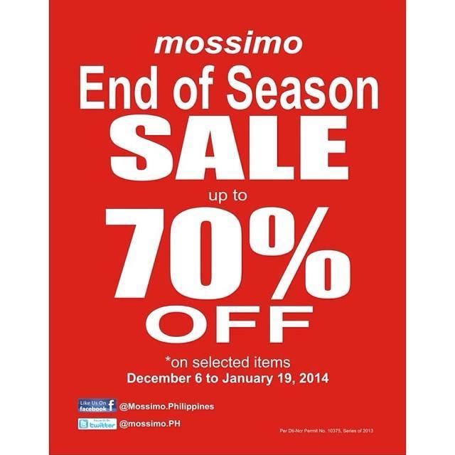 56cf16ac016e41 Mossimo End of Season Sale  December 6 – January 19