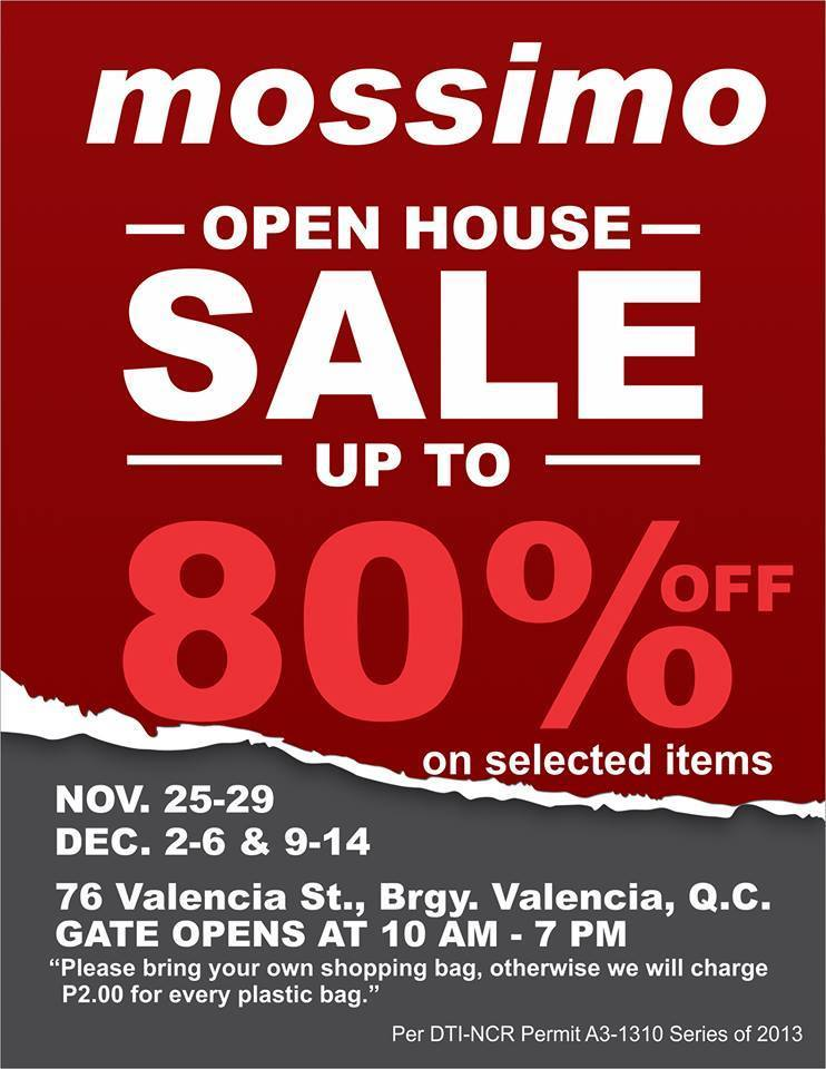 Mossimo Open House Sale December 2013