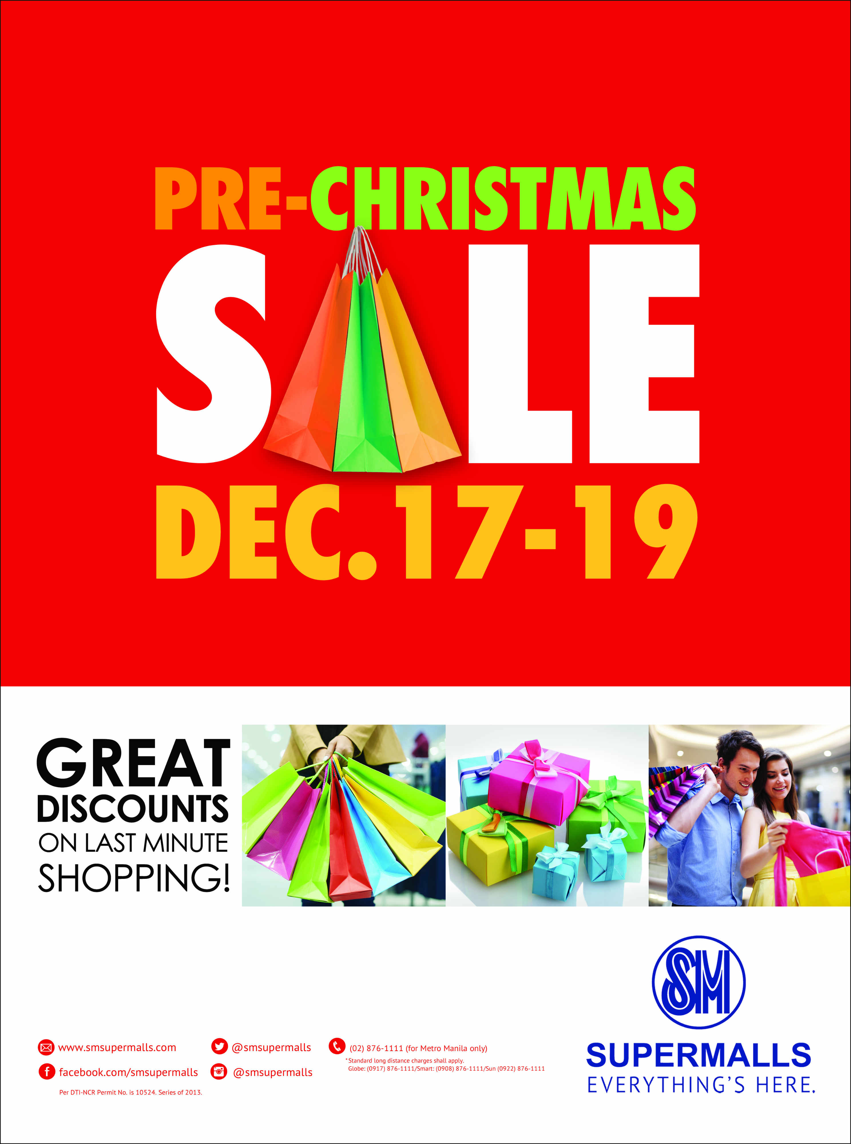 SM Supermalls Pre-Christmas Sale December 2013