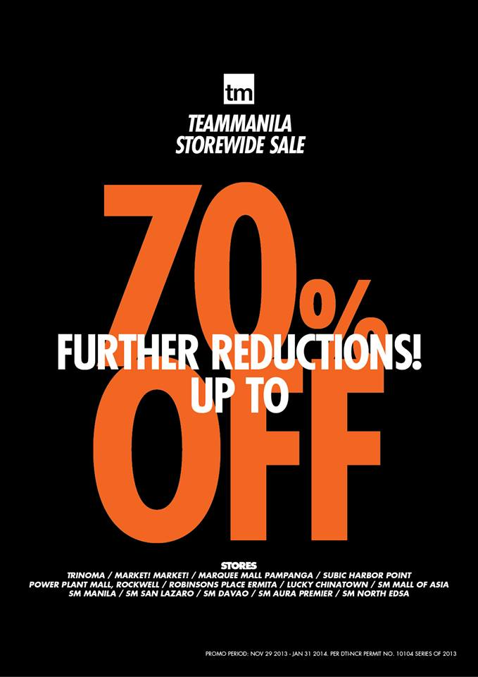 Team Manila Lifestyle Storewide Sale (Further Reductions)