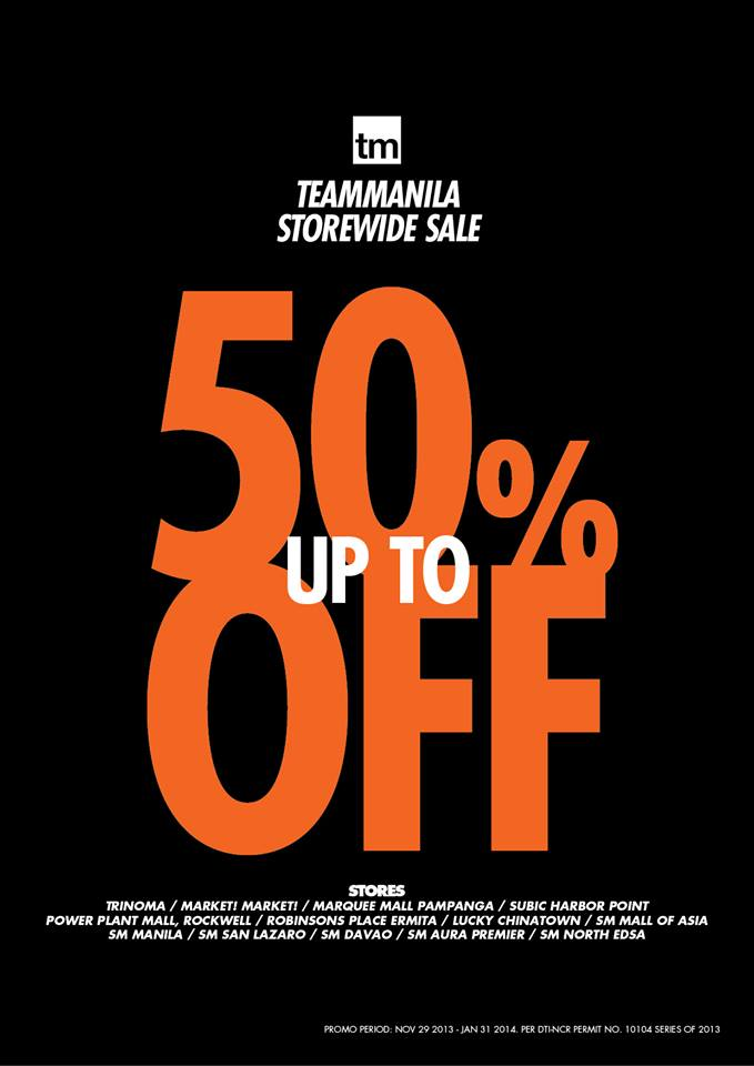 Team Manila Lifestyle Storewide Sale November 2013 - January 2014