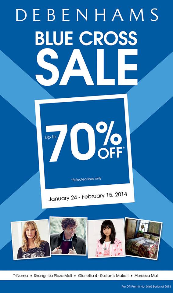 Debenhams Blue Cross Sale January - February 2014