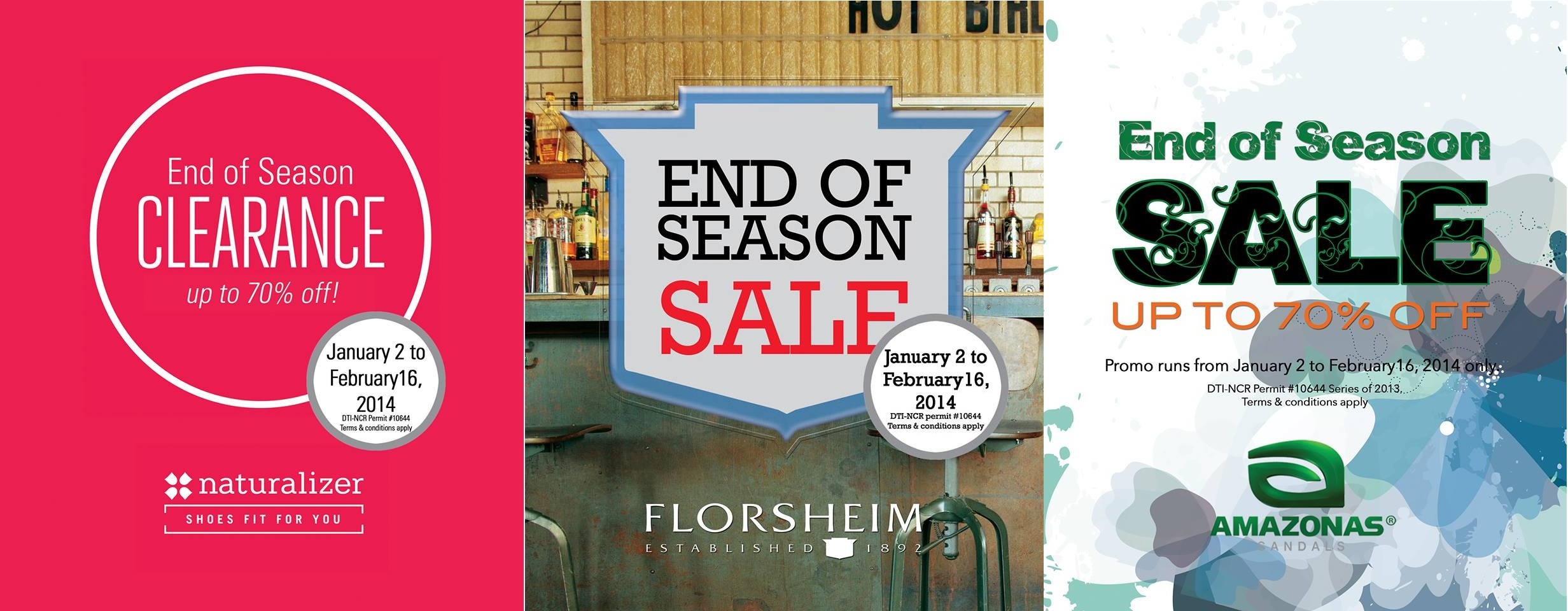 Naturalizer, Florsheim, Amazonas End of Season Sale January - February 2014