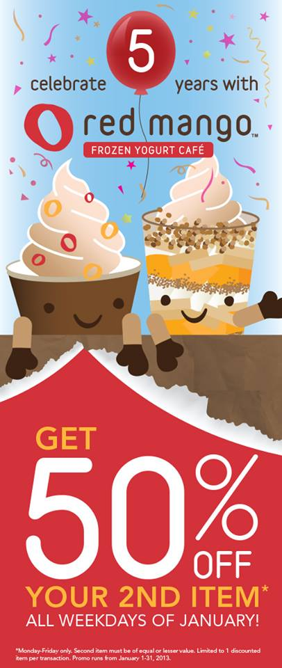 Red Mango Buy 1 Get 50 off your second item promo January 2014