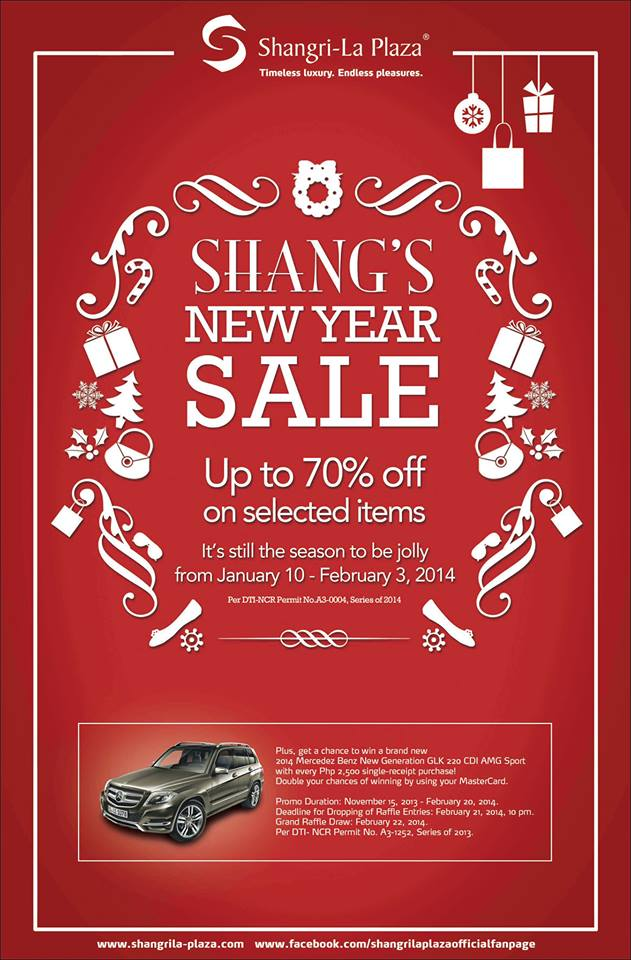 Shangri-La Plaza Mall New Year Sale January - February 2014