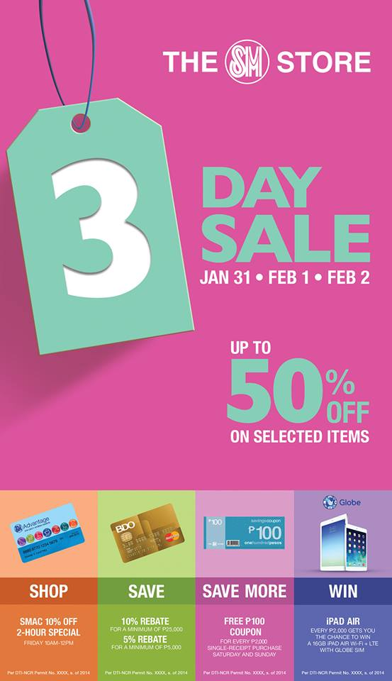 The SM Store (North Edsa, Sucat, Rosario & Lanang Premier) 3-Day Sale January - February 2014