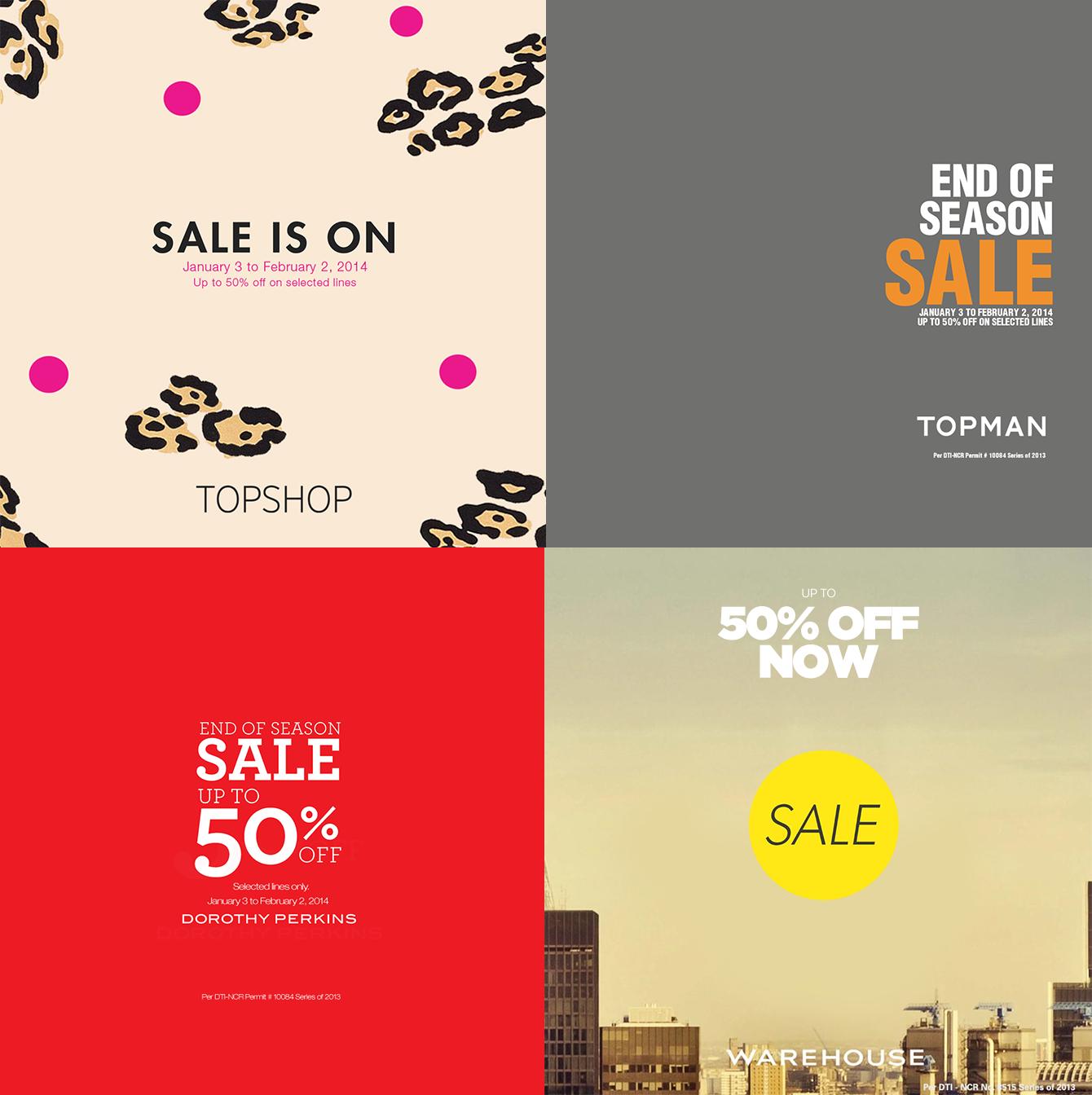 Topshop, Topman, Dorothy Perkins, Warehouse End of Season Sale January - February 2014