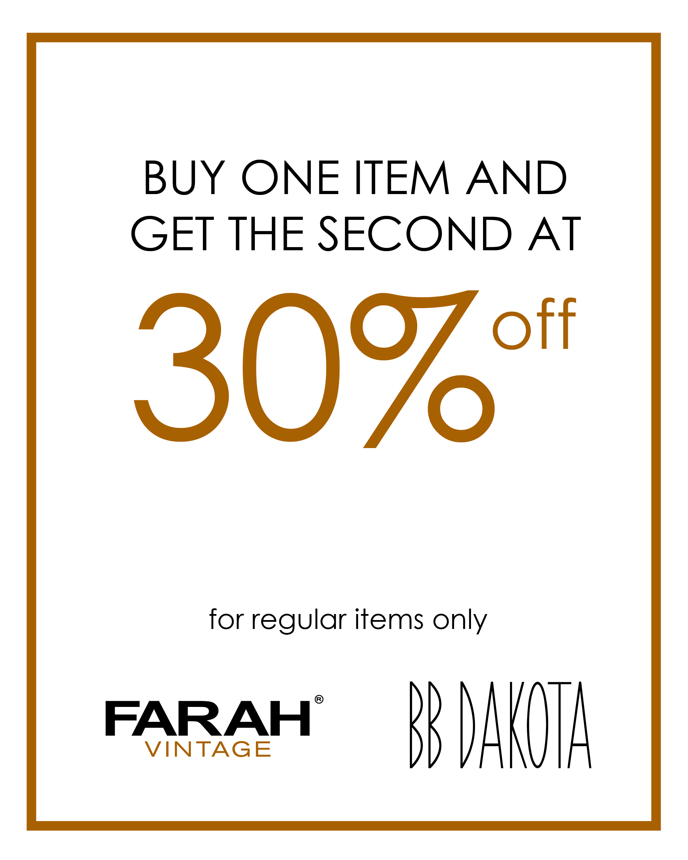 BB Dakota & Farah Vintage Discount Promo January - February 2014