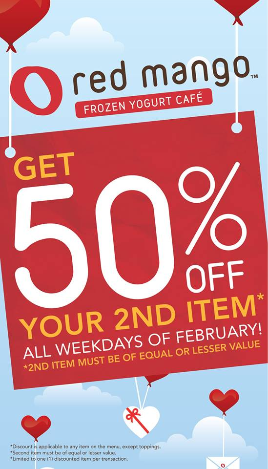 Red Mango Buy 1 Get 50 off your second item promo February 2014