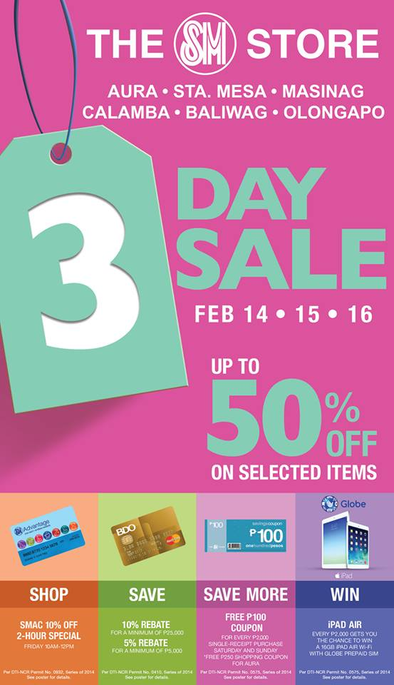 The SM Store 3-Day Sale February 2014