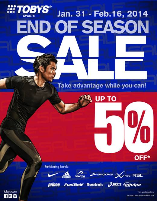 Toby's Sports End of Season Sale January - February 2014
