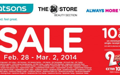 Watsons 3-Day Sale February - March 2014