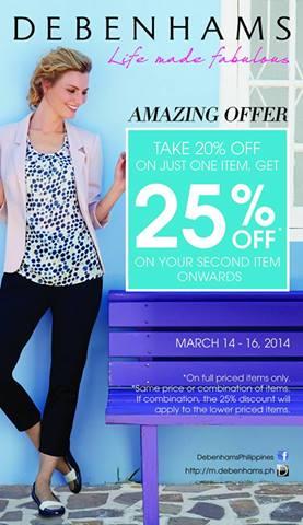 Debenhams Amazing Offer Sale March 2014