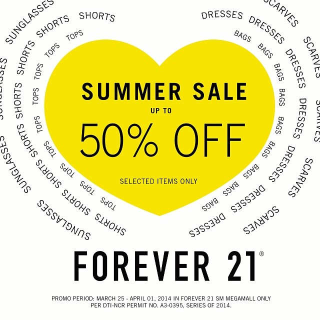 Forever 21 Summer Sale @ SM Megamall March - April 2014