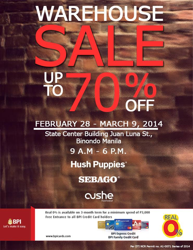 Hush Puppies, Sebago, Cushe Warehouse Sale @ State Center Building February - March 2014