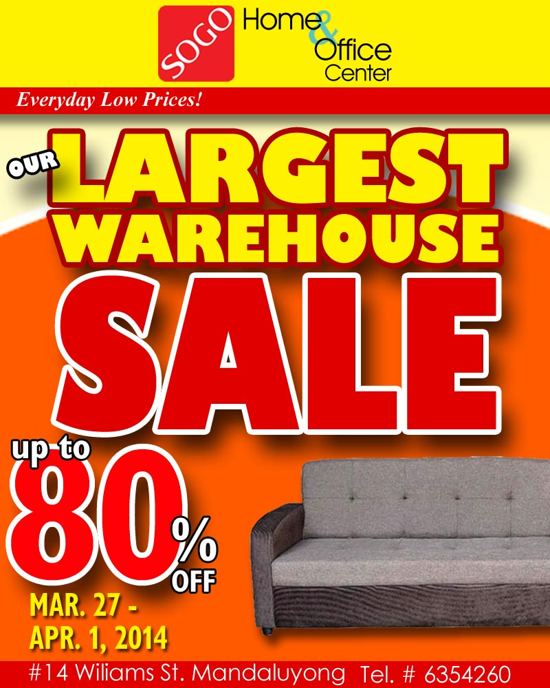 SOGO Home & Office Center Warehouse Sale March - April 2014