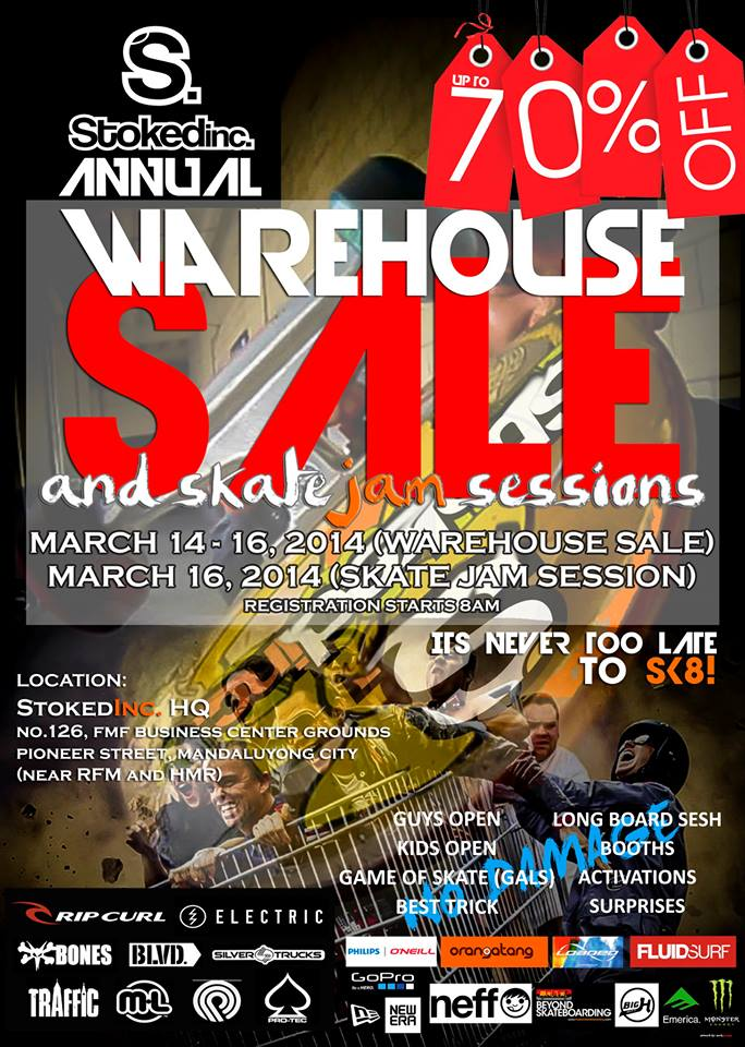 StokedInc. Annual Warehouse Sale March 2014