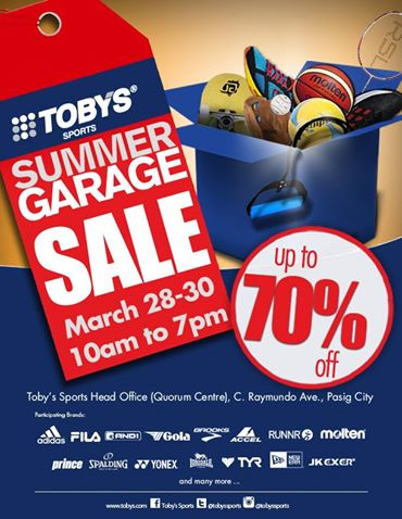 Tobys Sports Summer Garage Sale @ Quorum Center March 2014