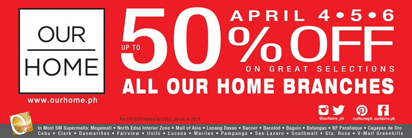 Our Home 3-Day Sale April 2014