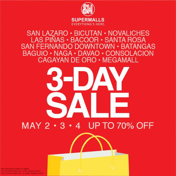 SM Supermalls 3-Day Sale May 2014