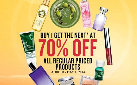 The Body Shop Buy 1 Get 70 off Promo April - May 2014