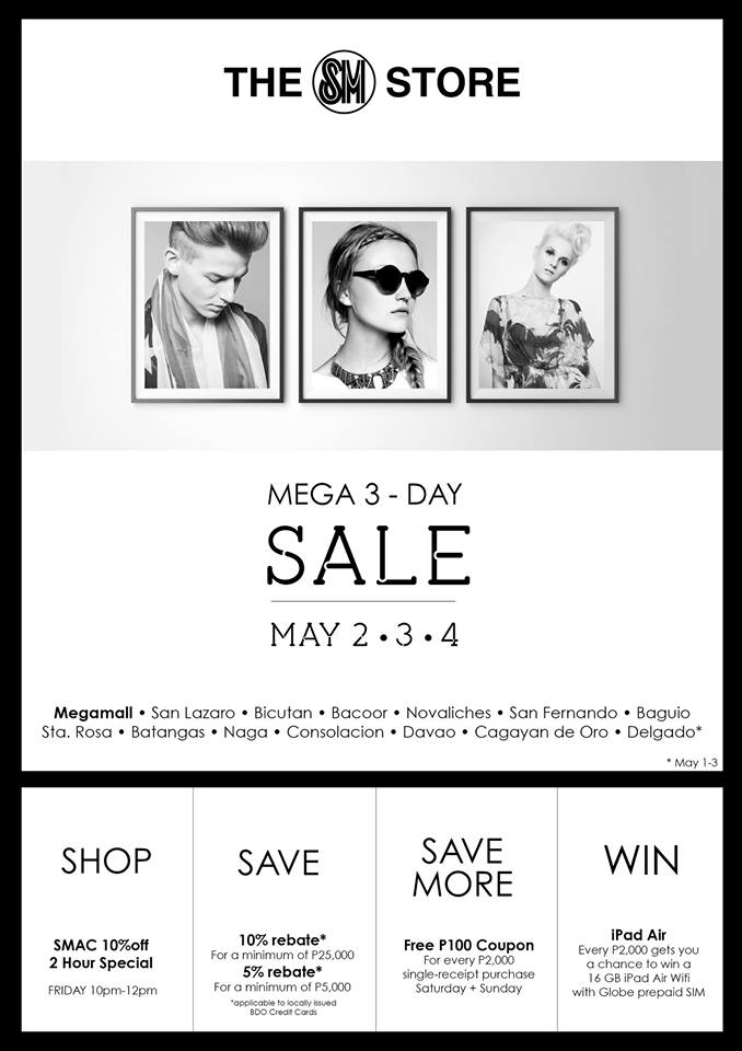 The SM Store Mega 3-Day Sale May 2014