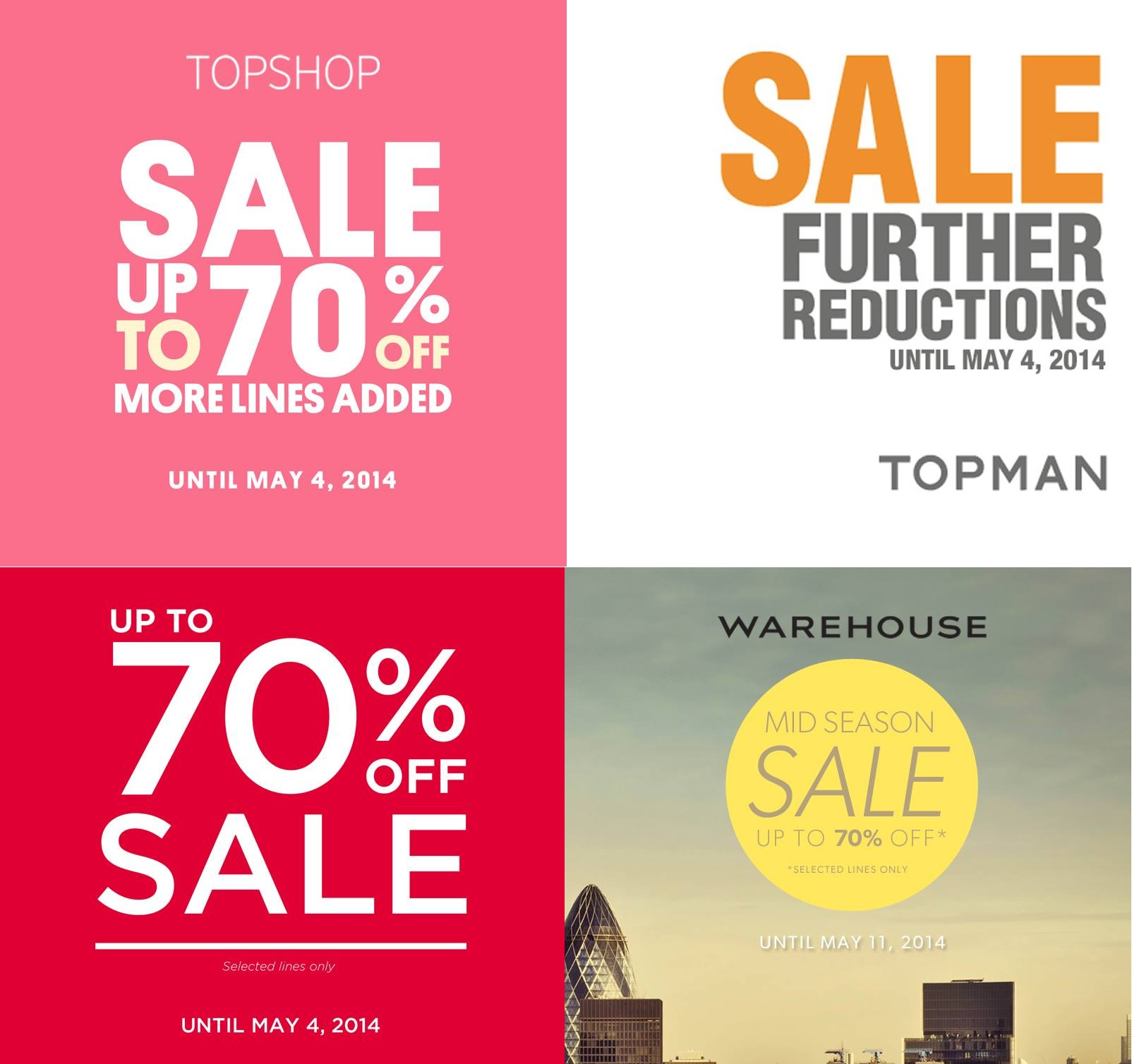 Topshop, Topman, Dorothy Perkins, & Warehouse Mid-Season Sale (Further Reductions) April - May 2014