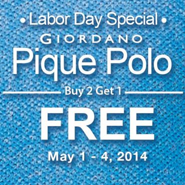 Giordano Labor Day Special Promo on Male Pique Polo May 2014