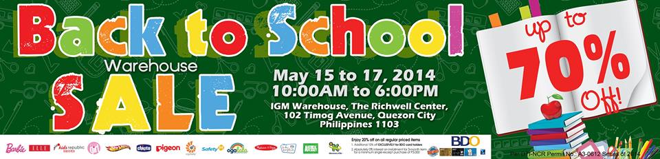 IGM Kids Hub Back To School Warehouse Sale May 2014