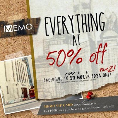 Memo Everything at 50 Off Promo @ SM City North Edsa May 2014